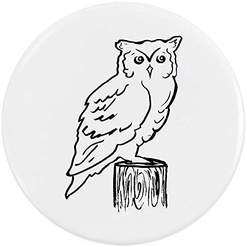 Azeeda 58mm 'Eule auf Stumpf' Pin Knopf-Abzeichen (BB00018338)