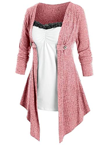 CuteRose Women Stylish Splicing Irregular Comfort Long Sleeve Stitching Shirt Dress...