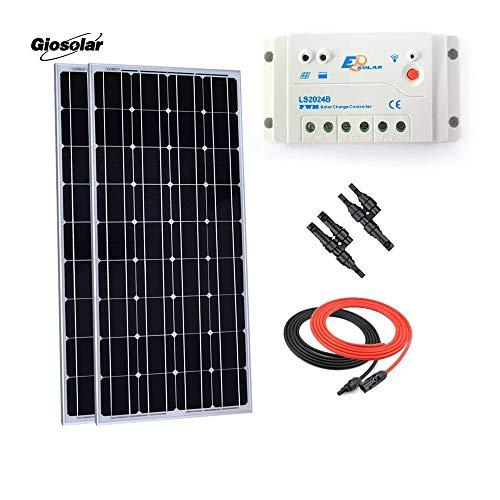 Giosolar 200W 12V Pannello Solare Starter Kit: Pezzi 100W Pannello Solare monocristallino con 20A LED regolatore di Carica per Camper Barca off-Grid