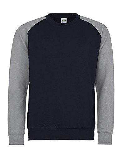 Just Hoods Baseball Sweat Herren Sweatshirt Sweater Pullover Pulli Langarm, Größe:XL, Farbe:Oxford Navy-Heather Grey