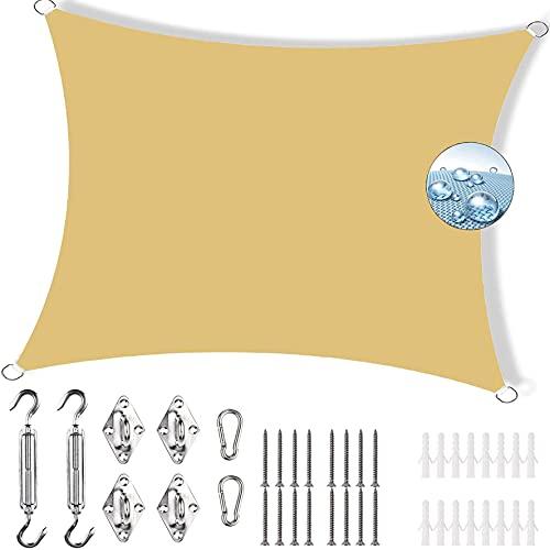 YIFANDU Toldo Vela de Sombra 3.5x5m 95% de protección Rayos UV Toldo Vela de Sombra Cuadrado Se instala fácil Resistente para Camping e Instalaciones al Aire Libre, De Color Crema