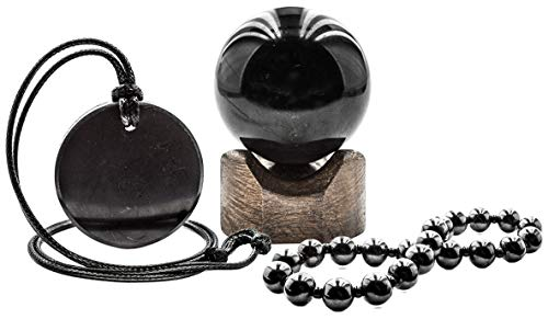 Genuine Regular Shungite Bracelet, Sphere, Round Pendant and Stand Beech Set for Root Chakra Balancing