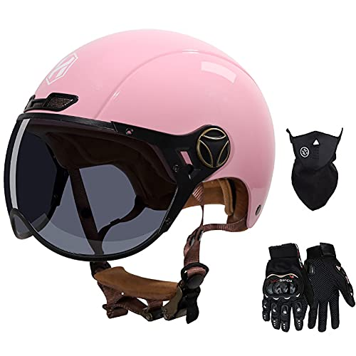 Casco De Motocicleta Para Adultos, Certificado Por DOT Medio Casco Con Guantes / Protector Facial Forro Interior Extraíble Y Lavable Cómodo Casco Abierto Transpirable Para Todas Las Estaciones (rosa 🔥