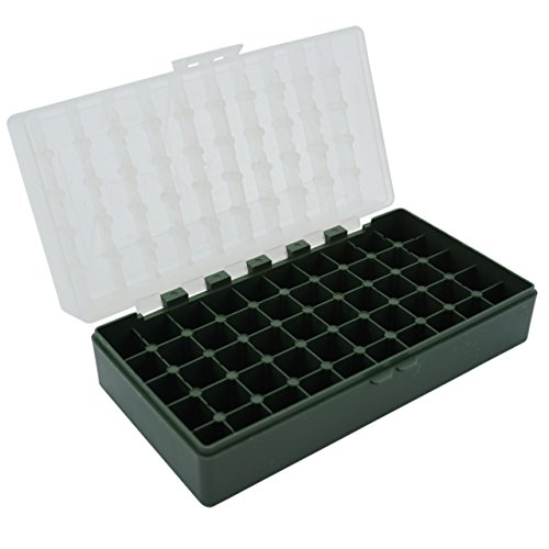 Waffenpflegewelt WPW Patronenbox aus robustem Kunstoff mit Klappdeckel für Kaliber .45 ACP, Kaliber 10 mm Auto, Kaliber .40 S&W, Kaliber .41 Magnum - 50 Stück – grün