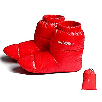 Earth Radius Ultralight Filled 90% Duck Down Booties Indoor Tent Water Repellent Warm Soft Slippers Boots for Men and Women with Storage Bag Red,L