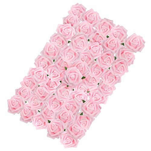 BELLE VOUS Künstliche Rosen Rosa Schaumrosen mit Stiel (50 STK) – 18 cm Echt Aussehende Kunstrosen Kunstblumen Rose Rosenköpfe als Blumendeko, Party, Hochzeit, DIY, Basteln, Blumenstrauß, Gesteck