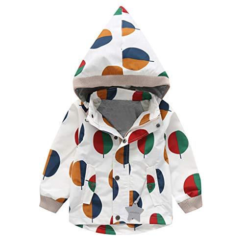 Alwayswin Kinder Baby Jungen Mädchen Regenjacke Herbst und Winter Warme Jacke mit Kapuze Tasche Windjacke wasserdichte Regenmantel Plus Samt Warme Mantel Outwear Jacken Kinderjacke