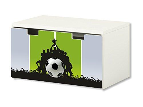 Fútbol pegatinas | pegatinas para muebles | BT46 | adecuado para el arcón de banco STUVA de IKEA para niños (90 x 50 cm) | Perfecto como arcón de juguetes y banco | (mueble no incluido) STIKKI