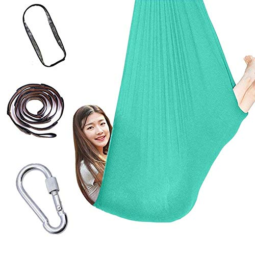 ZCXBHD Sensory Swing Indoor Durable Calming & Cuddle Therapy Hammock Chair For Autistic Children Maximum Weight 440 Lbs/200 KG (Color : Light green, Size : 150x280cm/59x110in)