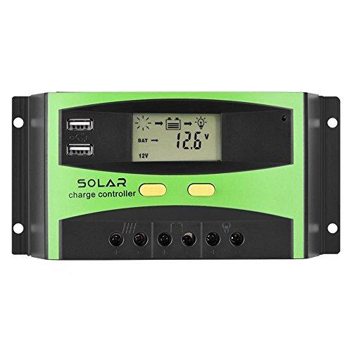 Estink Reguladores de Carga Solar fotovoltaica, Controlador de Cargador Solar USB Dual PWM con Pantalla LCD, para luz Verde Solar, Vallas publicitarias de luz Solar, Luces insecticidas solares(30A)