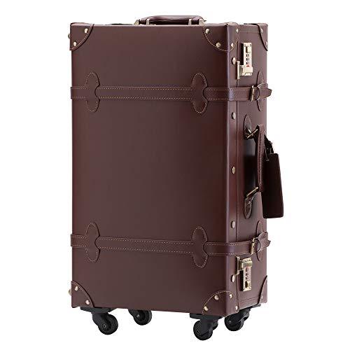 TANOBI トランクケース キャリーバッグ SS機内持込可 手作り 復古主義 修学旅行 ネームタグ レトロ おしゃれ かわいい 13色4サイズ(一年安心保証) (ブラウン, Mサイズ(3−5泊))
