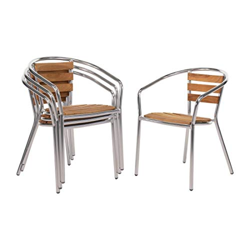 Bolero Lot de 4 fauteuils en aluminium et frêne 570 x 560 x 760 mm