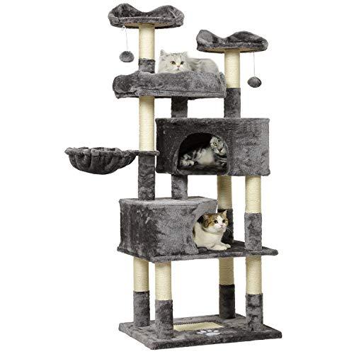 MSmask Kratzbaum für große Katzen, hoch 171 cm Kratzbaum groß mit 2 Katzenhöhlen Katzenbaum Stabil mit Sisal-Kratzstangen, 3 Plattformen, 2 Korb, Kratzbrett, Plüschball (Hellgrau)