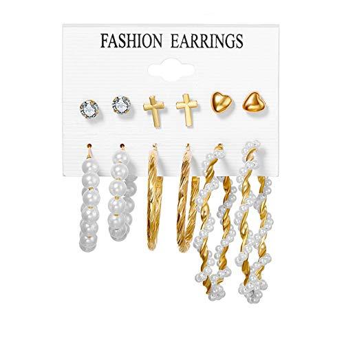 FEARRIN Earrings Trendy Ear Rings Bohemian Tassel Earrings for Women Vintage Shell Pearl Drop Earrings Set Rattan Dangle Earring Acrylic Jewelry H2-ZL2425-1