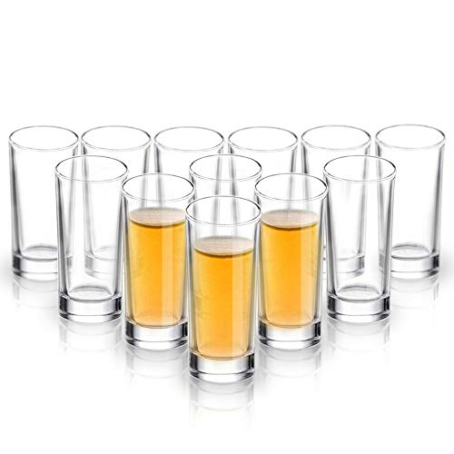 ELIVIA Shot Glass Set with Heavy Base, 1.2 oz Clear Glasses for Whiskey and Liqueurs (12 pack)