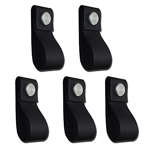 POFET Tiradores de cuero hechos a mano para puerta de gabinete, tiradores de cocina, pomos de cocina, 195 x 26 mm, color negro