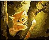Meecaa Pintura por Números Árbol de Gato Lindo Kit Natural para Adultos Principiantes Pintura al óleo DIY 40,6 x 50,8 cm (Cat 1, enmarcado)