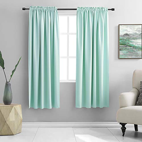 DONREN Aqua Color Blackout Curtains for Bedroom - 63 Inch Length Room Darkening Thermal Insulated Rod Pocket Curtains for Kids Room(42 x 63 Inches Long,1 Pair)