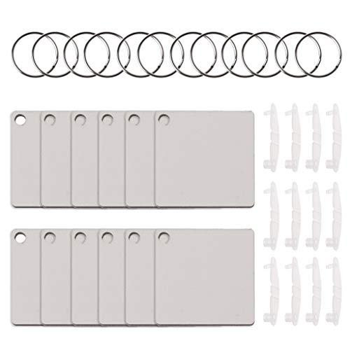 Faguo 12 Sublimation Hartfaserplatten-Schlüsselringe Doppelte bedruckbare Leere MDF-Schlüsselanhänger