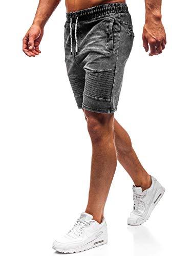 BOLF Hombre Pantalón Corto Pantalones Vaqueros Denim Regular Pantalón de Algodón J.Style KK102 Gris Grafito M [7G7]