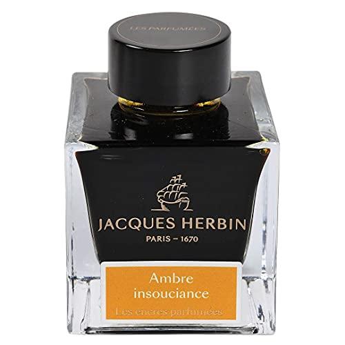 Jacques Herbin 14741JT - Botella de tinta perfumada para pluma y bolígrafo roller, color ámbar