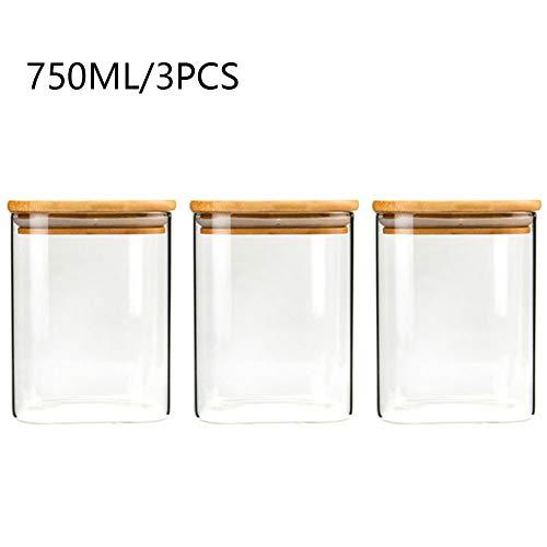 750ml Tarro de Vidrio Cuadrado - Pack 3 Botes de Cristal Apilable - Tarro de Cristal con Tapa de Bambú - Frasco de Vidrio de Borosilicato