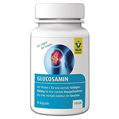Raab Vitalfood Glucosamin-Sulfat mit natürlichem Vitamin C; für normale Knorpelbildung, 90 Kapseln, vegan, glutenfrei, laborgeprüft in Deutschland, 72 g
