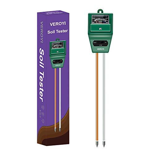 Veroyi Medidor de pH de Suelo, medidor de luz de pH de Humedad del Suelo 3 en 1 ST02 para el hogar, jardín, césped, Granja, Plantas de Interior al Aire Libre (Verde)