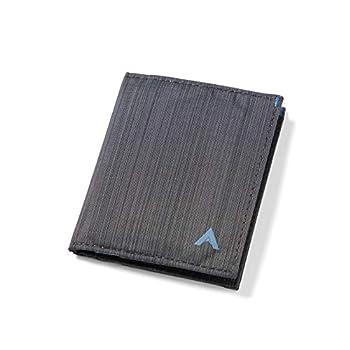 Allett Hybrid Card Wallet Slate Black | Nylon RFID Blocking Vertical Layout | Slim Minimalist Bifold Card Holder Water Resistant | Holds 3-10+ Cards Cash | Wallets for Men & Women