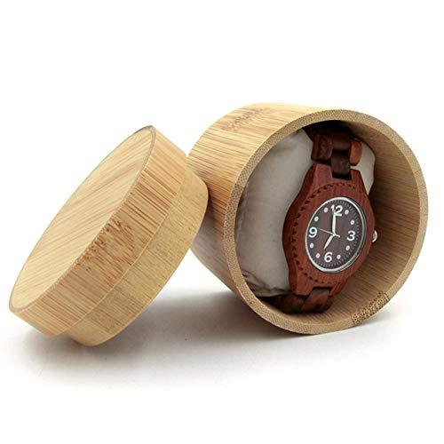 AJH Ronde houten horloge doos, Mini Opbergdoos 100% puur bamboe en hout vintage horloge doos (8cm*9cm)