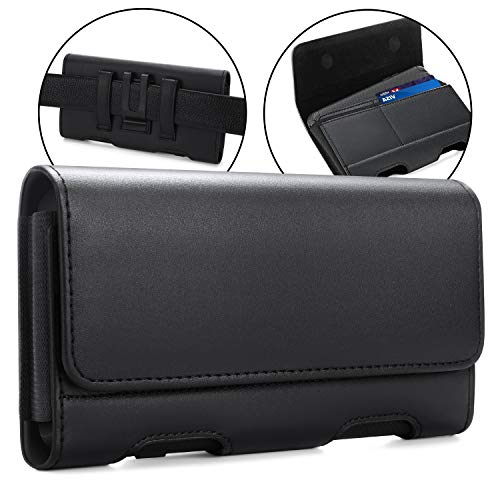 BECPLT Moto Z4 Case, Moto G7 Power Holster case,Leather Pouch Holster Belt Clip &Loops Case with Card Holder for Motorola Moto G8 Plus/Moto G7/Moto G6 Play /Moto Z3 Play/ Moto Z2 Force, Z Play (Black)