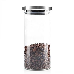 Boîte à Café Hermétique, ASHATA Boîtes et Coffrets à thé et Café Alimentaire en Verre Borosilicate Coffee Vault Hermétique de Conservation pour Café/Haricots / Sucre/Thé (1000ML)
