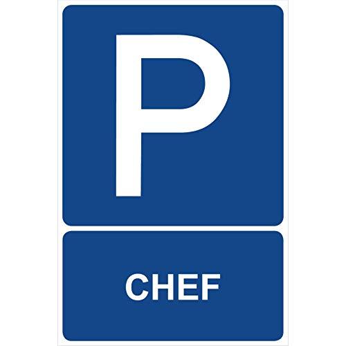 Parkplatzschild Chef Parken Schild Blau 30 x 20 x 0,3 cm Kunststoff Parkplatzmakierung Parken Parkplatzschilder Parkplatz Hinweisschild, Verbotsschild, Parkplatz Freihalten