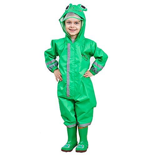Imperméable Garcon Enfant Vert Grenouille Velo Complet avec Capuche Combinaison L'école Sport Manteaux Imperméable Pantalon Respirant Randonnée Veste Transparent Chapeau Unisexe Cape Pluie 3-5 Ans