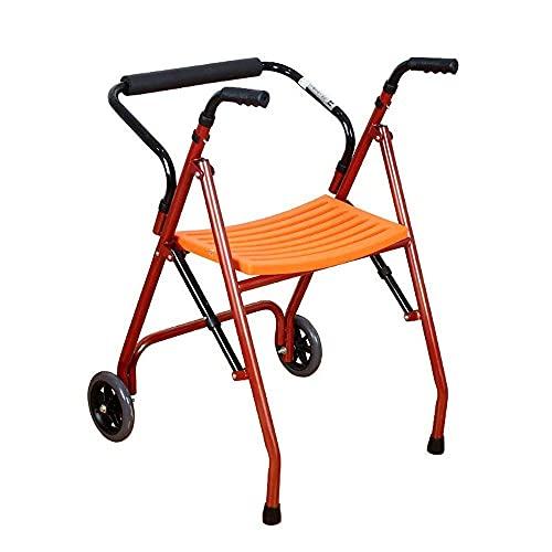 Andador Plegable De Aluminio Ligero con Ruedas, Altura Ajustable, Andador Plegable Bariátrico con Asas De Plástico Duradero