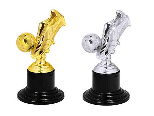 S.B.J - Sportland Kinder Pokal | Mini Pokal | Party Pokal Fußball mit Fußballschuh auch als Medaille verwendbar, Größe 10 cm, Silber