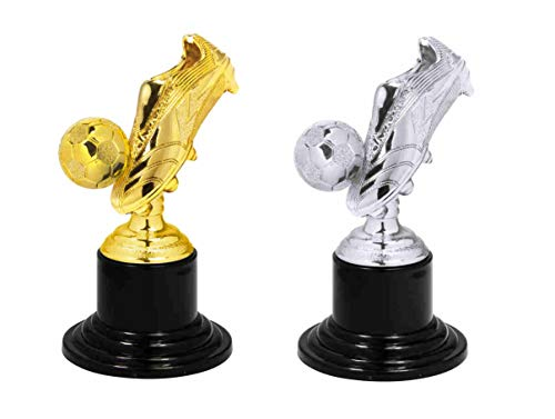 S.B.J - Sportland Kinder Pokal | Mini Pokal | Party Pokal Fußball mit Fußballschuh auch als Medaille verwendbar, Größe 10 cm, Gold