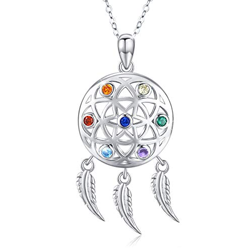 TANGPOET Dream Catcher Chakra Necklace for Teens 925 Sterling Silver Feathers Tassel Encouragement Gifts for Women for Wife Mom Daughter