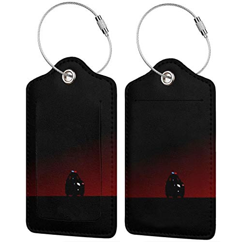 2 Pack FULIYA High-end Leather Luggage Tags for Suitcases - Travel ID Identifier Labels Set for Bags & Baggage - Men & Woman,Car, Art, Outlines, Minimalism, Night