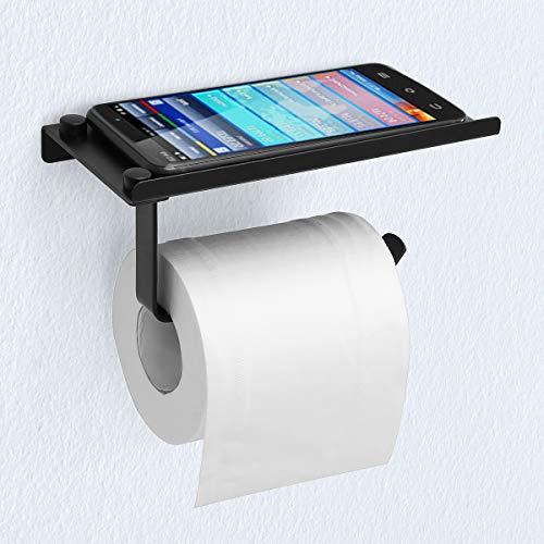 MOHOO Porta Carta Igienica con Ripiano SUS304 in Acciaio Inox con Viti Porta Carta da Bagno da 10 kg 180mm * 90mm * 70mm (Nero)