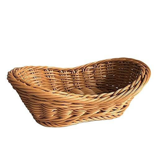 Bandeja de la canasta de pan tejido de mimbre para la bandeja de la sirva para el almacenamiento de la fruta del almacenamiento de la mesa de la mesa de la mesa de la cocina organizador de almacenamie