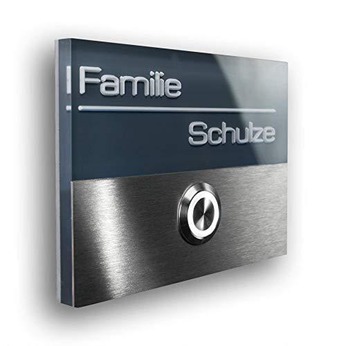 Metzler Edelstahl Türklingel in Anthrazit - inkl. Gravur/Beschriftung - LED beleuchteter Taster wasser- & staubdicht