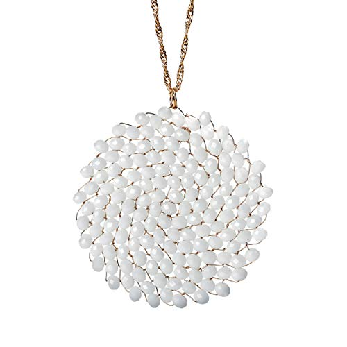 Niumike Handmade Crystal Circle Pendant Necklace for Women Disc Long Statement Necklaces with Box (White)