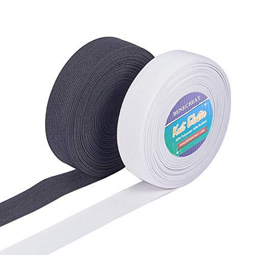 BENECREAT 20 Yards 25mm Breite Flache Elastische Bandspule Nähbänder Gurtband Kleidungsstück Nähzubehör (10 Yards/Farbe)