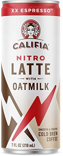 Califia Farms - Nitro Cold Brew Coffee, Oat Milk Latte - XX Espresso - 7 Oz (12 Cans) | Shelf Stable | Iced Coffee On-the-Go | Clean Energy | Dairy Free | Gluten Free | Plant Based | Non-GMO