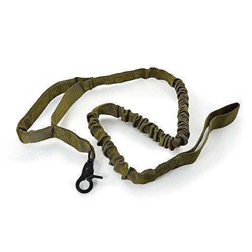 Ganzoo hondenriem stretch, olijfgroen, 1 m - 1,4 m, rekbaar linnen, riem/lijn, met polsriem, korthoudgreep, karabijnhaak, touwlijn - merk