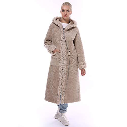 SHOUBANG Mantel Pelzmantel Frauen Winter Lange Zip Kapuze Natürliche Wollmischung Schaffellmantel Frauen Warme Pelzmantel