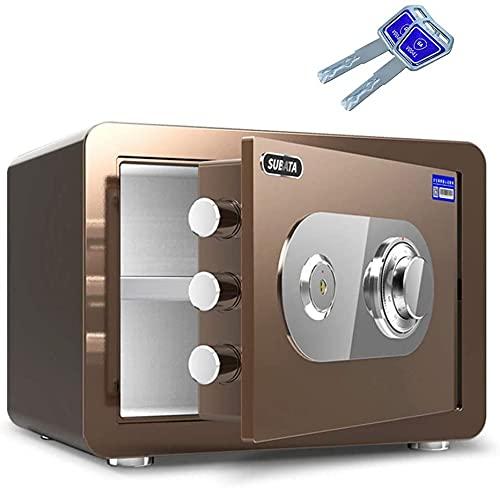 TOPNIU Cajas Fuertes Resistentes al Fuego, Acero antirrobo Mecánico Seguro, gabinete de Seguridad de 25 cm / 30 cm / 45 cm (Color : Brown, Size : 45x38x33cm)