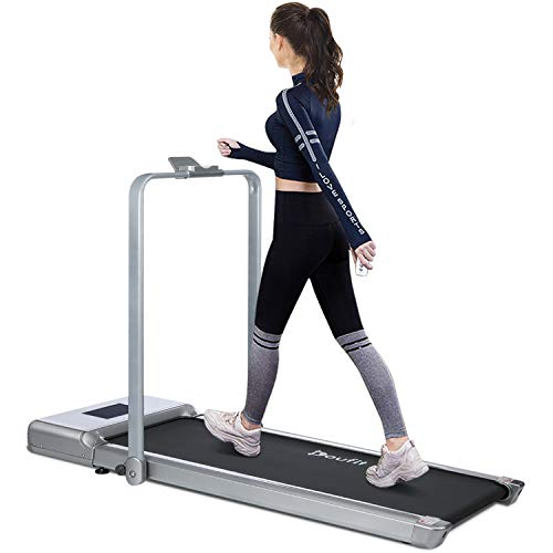 Folding Treadmill for Home Use, Doufit TD-01 Under Desk Electric Walking Jogging Exercise Machine for Small Space, Portable Compact Workout Treadmill with Remote Control & Tablet Holder (1KM/H-6KM/H)