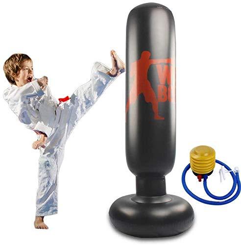 Kinder Bokszak Opblaasbare Bokszak Vrijstaande Bokszak, Zeer Geschikt Voor Het Thuis Oefenen Van Taekwondo, Mma Kick Training Tas (inclusief Voetpomp)